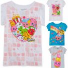 GIRL'S SHOPKINS T-SHIRTS TOPS 4 STYLES SIZES 4 & 6 WHITE PINK YELLOW BLUE GRAY N