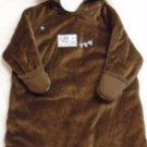 BUNTING BAG CAR STROLLER SLEEP Brown Velour 3-6 Months Hooded Snap Closure NWT