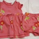 BABY GIRL'S DRESS & DIAPER COVER Peach Floral Yellow CARTER'S 3-6 Months