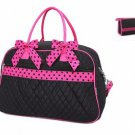 DUFFLE BAG Weekend Overnight Quilted BELVAH With Cosmetic Case Black Fuchsia NWT