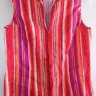 100% LINEN BLOUSE TOP Bright Cheerful Red Orange Purple Stripes Large Sleeveless