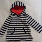 BABY GIRL HOODED TOP NAVY BLUE WHITE STRIPES PINK HEART POCKETS 9 MONTHS CARTERS