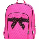 BELVAH QUILTED BACKPACK Pink Fuchsia Black Trim Zipper Pocket Full Size NWT