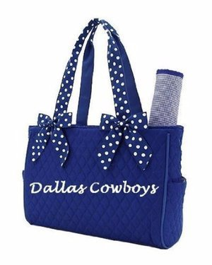 DALLAS COWBOYS Embroidered Diaper Bag Blue White Changing Pad Quilted Baby NWT