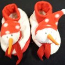 BABY GIRL BOY UNISEX SNOWMAN SLIPPERS WHITE RED INFANT LARGE CHRISTMAS HOLIDAY W