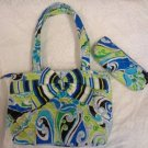 LUNCH BAG INSULATED QUILTED RETRD BELVAH WOMEN GIRL GREEN BLUE  UTENSIL CASE NWT