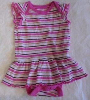 BABY GIRL DRESS Attached Panties One Piece Pink Stripes 0-3 Months Sleeveless