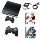 SONY PLAYSTATION 3 120GB SLIM GAMERS BUNDLE W/ 2 GAMES, CONTROLLER, CABLES, AND COOLING FAN
