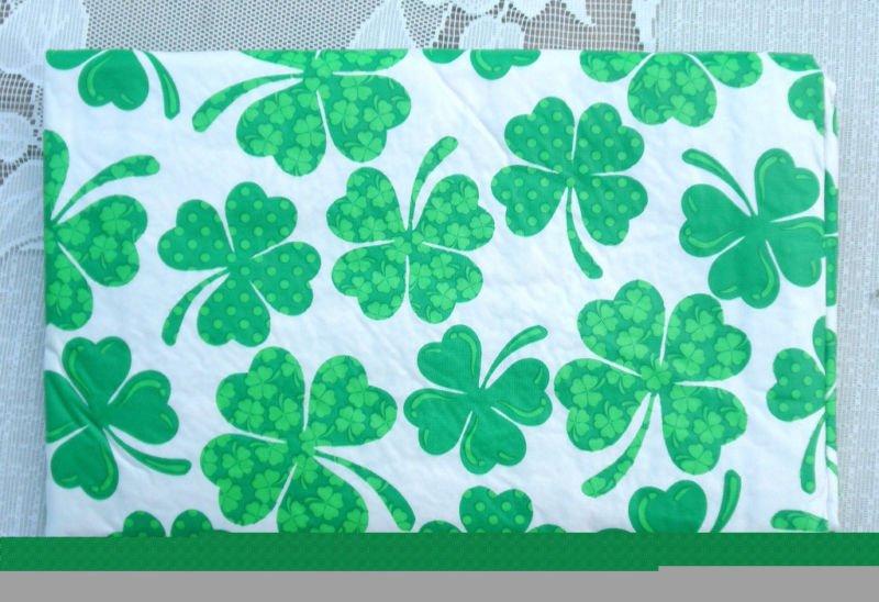 Clover Shamrock St Patricks Day Vinyl Tablecloth 52 X 90