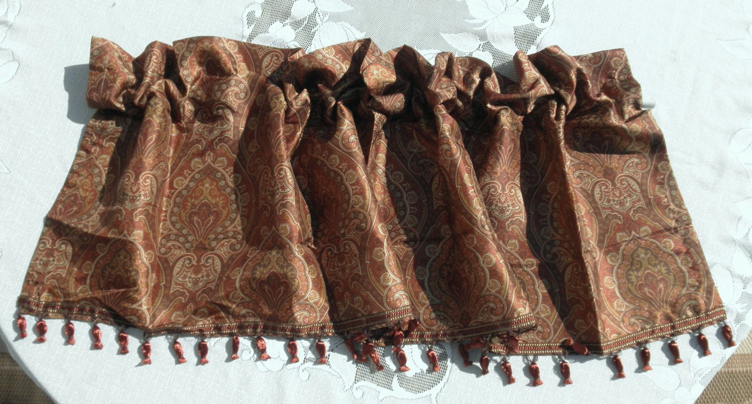 Better Homes Gardens MEDINA PAISLEY Window VALANCE Brown RIBBON