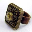 Handcrafted Leather & Brass Ring - Le Carre - Size 7
