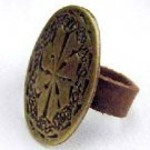 Handcrafted Leather & Brass Ring - INSPIRATION - Size 6
