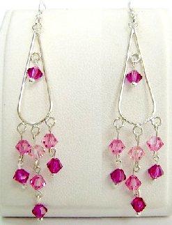 Crystal Sterling Silver Earrings ~ PRETTY IN PINK ~