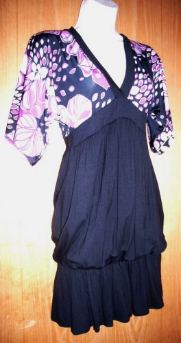 Black Dress Sz Small Purple-Lav Accents Bubble Hem