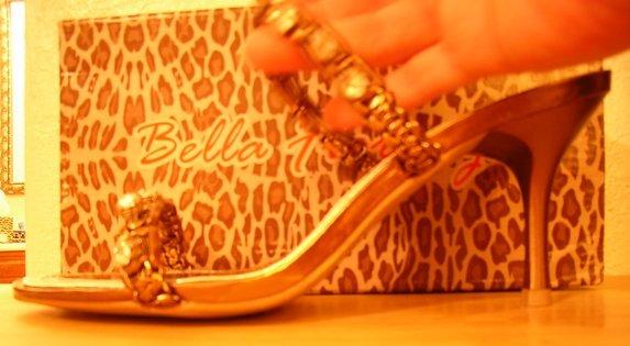 Bella Fiorenza Bronze Jewel Heels Sz 7.5