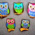 5 Pc Retro Owls No Sew Iron On Appliques Cotton Patches
