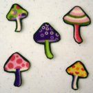 5 Pc Retro Mushrooms No Sew Iron On Appliques Cotton Flannel Patches