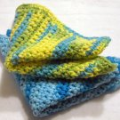 You Pick ANY Color Set of 3 Crocheted Square Cotton Dish Cloths