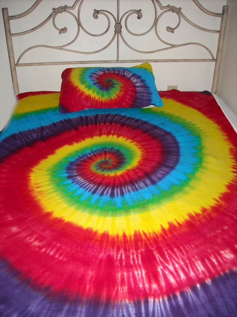 Custom Tie Dye Hippie Full Bed Sheets 4PC Kids Adult Unique Hand Dyed Tiedye Cotton Jersey