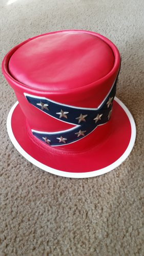 Confederate Flag Custom Made Leather Hat - Skynyrd style.