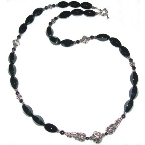 Black Agate, Black Onyx & Sterling Silver Necklace