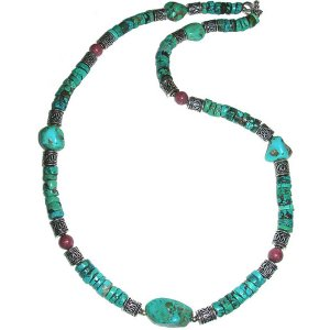 Turquoise, Rhodonite & Sterling Silver Necklace