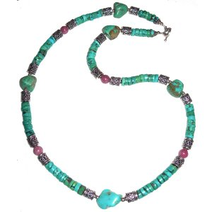 Turquoise, Rhodonite & Sterlimg Silver Necklace