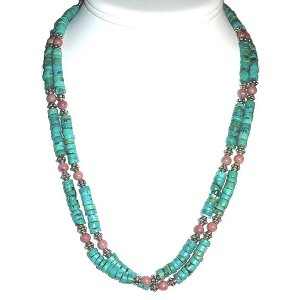 Turquoise, Rhodonite & Sterling Silver, Double Strand Necklace