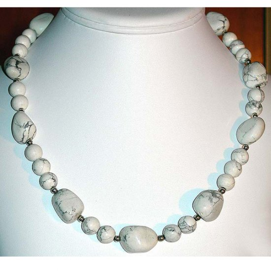 White Howlite & Sterling Silver Nugget Necklace