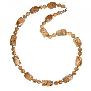 Large Nugget Picture Jasper & Sterling Silver Necklace