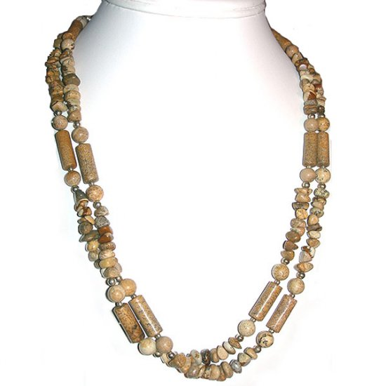 Picture Jasper Double Strand, Primitive Necklace