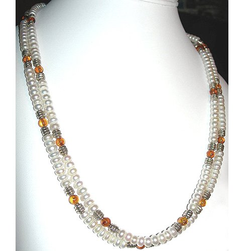 Pearl, Amber & Sterling Silver Double Strand Necklace