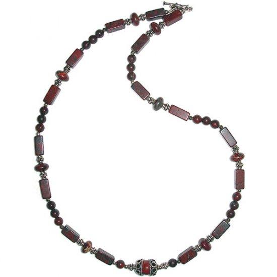 Transitional Designed, Brecciated Jasper & Sterling Silver Necklace