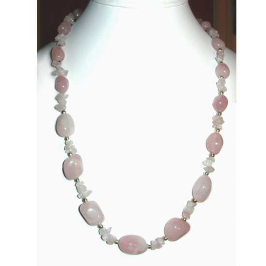 Rose Quartz Nugget & Chip Necklace