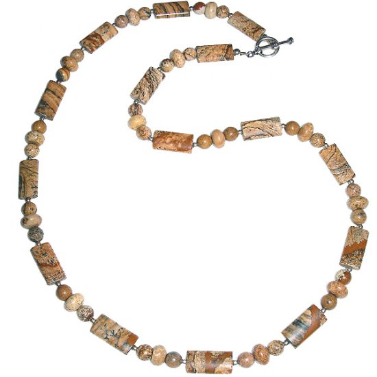 Rounded Rectangular Picture Jasper, & Sterling Silver Necklace