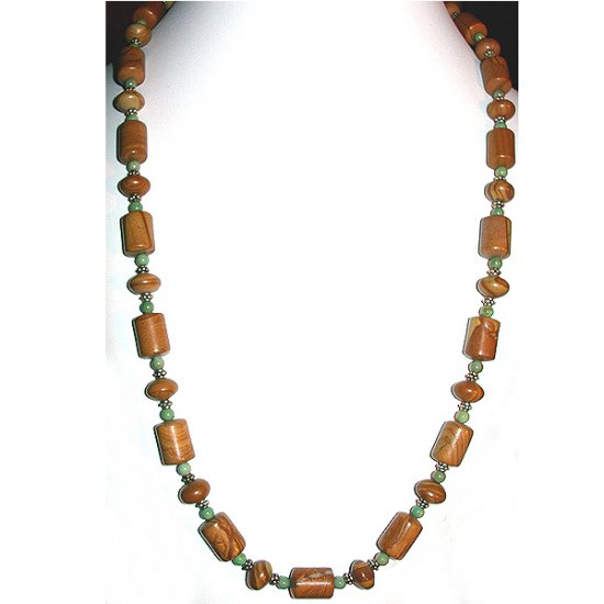 Chinese Picture Jasper, Turquoise & Sterling Silver Necklace