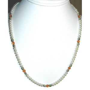 Pearl, Amber,  and Sterling Silver Necklace