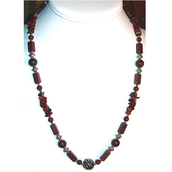 Brecciated Jasper and Sterling Silver Necklace: