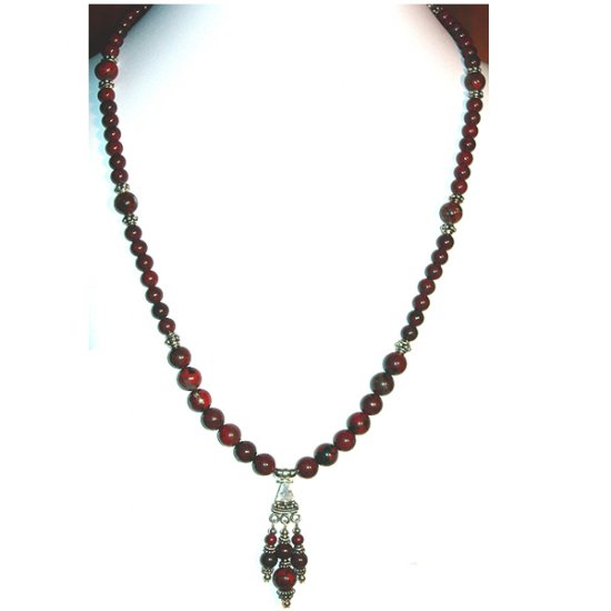 Brecciated Jasper and Sterling Silver Necklace