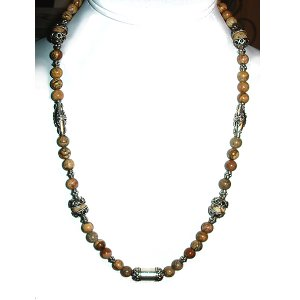 Picture Jasper & Sterling Silver Necklace