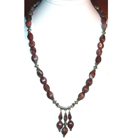Red Picture Jasper & Sterling Silver Pendant Necklace