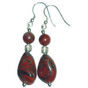 Brecciated Jasper and Sterling Silver Nugget Earrings: