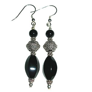Black Agate, Black Onyx & Sterling Silver Earrings: