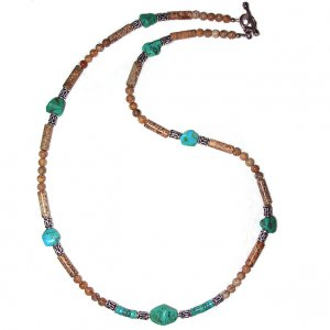 Picture Jasper, Turquoise Nugget & Sterling Silver Choker