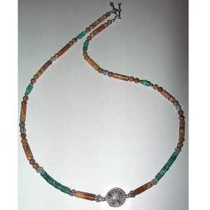 Picture Jasper, Turquoise Heishe & Sterling Silver Choker:
