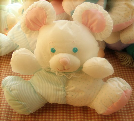 Puffalump Baby Bear or Mouse Fisher Price Plush Rattle VintageToy