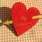 Vintage Valentines Day Decoration Red Heart with Cupid's Arrow