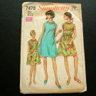 Mod Tent Dress Vintage 60s Sewing Pattern Simplicity 7478