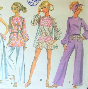 Mod bikini Bathing Suit Bell Bottom Pants vintage sewing pattern McCall's 9723