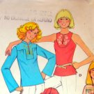 McCall's 5021 Vintage 70s Tunic Top Sewing Pattern with embroidery transfer